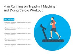 Man Running On Treadmill Machine And Doing Cardio Workout