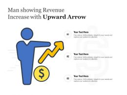 Man Showing Revenue Increase With Upward Arrow