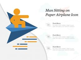 Man Sitting On Paper Airplane Icon