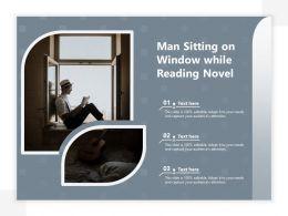 Man Sitting On Window While Reading Novel