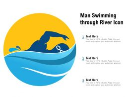 Man Swimming Through River Icon