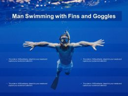 Man Swimming With Fins And Goggles