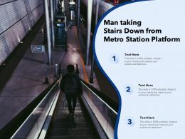 Man Taking Stairs Down From Metro Station Platform