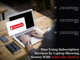 Man Using Subscription Services By Laptop Showing Screen With Subscribe Button