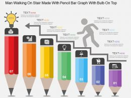 Man Walking On Stair Made With Pencil Bar Graph With Bulb On Top Flat Powerpoint Design