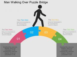 man_walking_over_puzzle_bridge_flat_powerpoint_design_Slide01