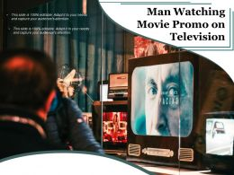 Man Watching Movie Promo On Television