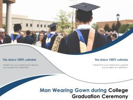 Man Wearing Gown During College Graduation Ceremony