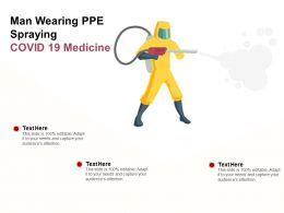Man Wearing PPE Spraying COVID 19 Medicine