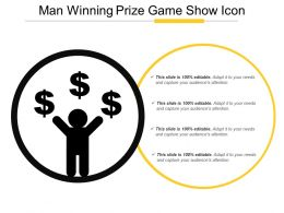 Man Winning Prize Game Show Icon