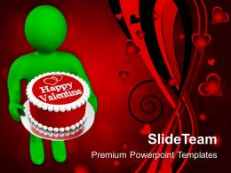 Man Wishing Valentines With Cake PowerPoint Templates PPT Themes And Graphics 0213