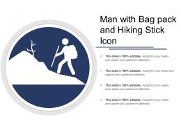 Man With Bag Pack And Hiking Stick Icon