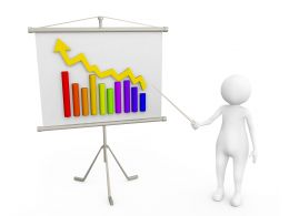 Man With Bar Graph Of Business Stock Photo