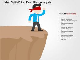 Man With Blind Fold Risk Analysis Flat Powerpoint Design