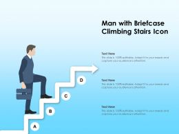Man With Briefcase Climbing Stairs Icon