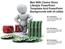 Man With Casino Dices Lifestyle Templates And Powerpoint Backgrounds With All Slides
