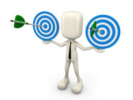 Man With Dual Target Darts With Green Arrow Hitting The Target Stock Photo