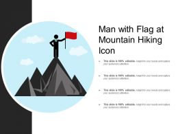 Man With Flag At Mountain Hiking Icon