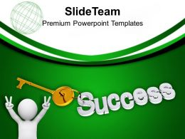 Man With Golden Key Success Future PowerPoint Templates PPT Themes And Graphics 0213