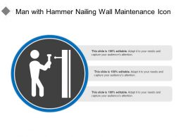 Man With Hammer Nailing Wall Maintenance Icon