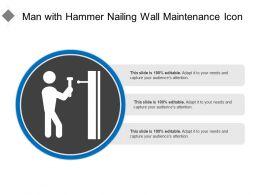 Man With Hammer Nailing Wall Maintenance Icon