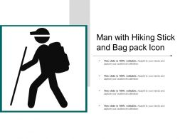 Man With Hiking Stick And Bag Pack Icon