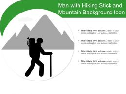 Man With Hiking Stick And Mountain Background Icon