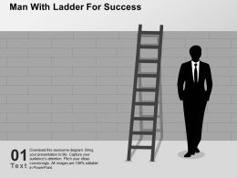 Man With Ladder For Success Flat Powerpoint Design