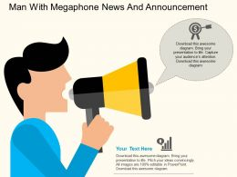 Man With Megaphone News And Announcement Flat Powerpoint Design