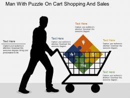 Man With Puzzle On Cart Shopping And Sales Flat Powerpoint Design