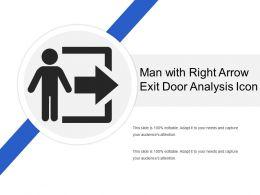 Man With Right Arrow Exit Door Analysis Icon