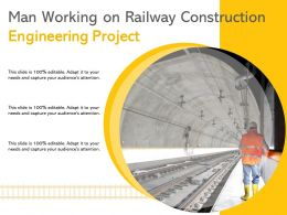 Man Working On Railway Construction Engineering Project