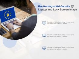 Man Working On Web Security Laptop And Lock Screen Image