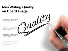 Man Writing Quality On Board Image