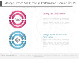 Manage Branch And Individual Performance Example Of Ppt