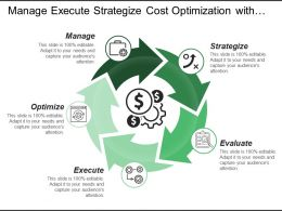 Manage Execute Strategize Cost Optimization With Arrows And Icons