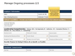 Manage Ongoing Processes Cultural Capabilities Ppt Powerpoint Presentation Icon Background