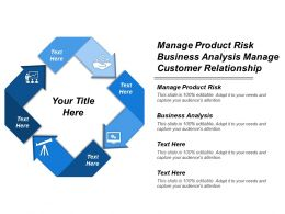 Manage Product Risk Business Analysis Manage Customer Relationship