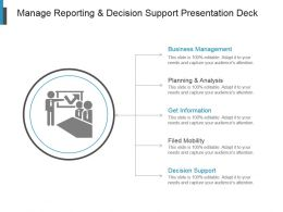 Manage Reporting And Decision Support Presentation Deck