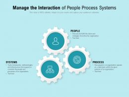 Manage The Interaction Of People Process Systems