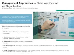 Management Approaches To Direct And Control An Organization