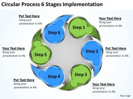 Management Consultant Circluar Process 6 Stages Implementation Powerpoint Slides 0523