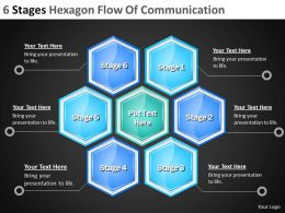 Management Consulting 6 Stages Hexagon Flow Of Communication Powerpoint Templates