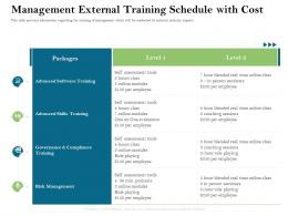Management External Training Schedule With Cost Firm Rescue Plan Ppt Powerpoint Presentation Ideas