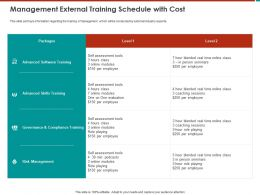 Management External Training Schedule With Cost Modules Ppt Powerpoint Presentation Icon Show