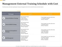 Management External Training Schedule With Cost Ppt Powerpoint Gallery Icons