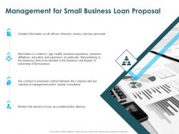 Management For Small Business Loan Proposal Ppt Powerpoint Presentation Rules
