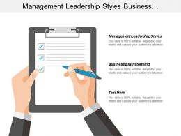 Management Leadership Styles Business Brainstorming Supplier Performance Evaluation Cpb