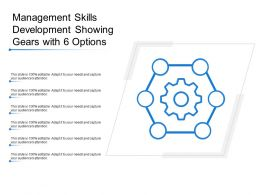 Management Skills Development Showing Gears With 6 Options