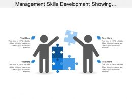 Management Skills Development Showing Men Silhouettes With Puzzle Pieces